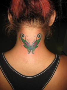 Neck butterfly tattoo