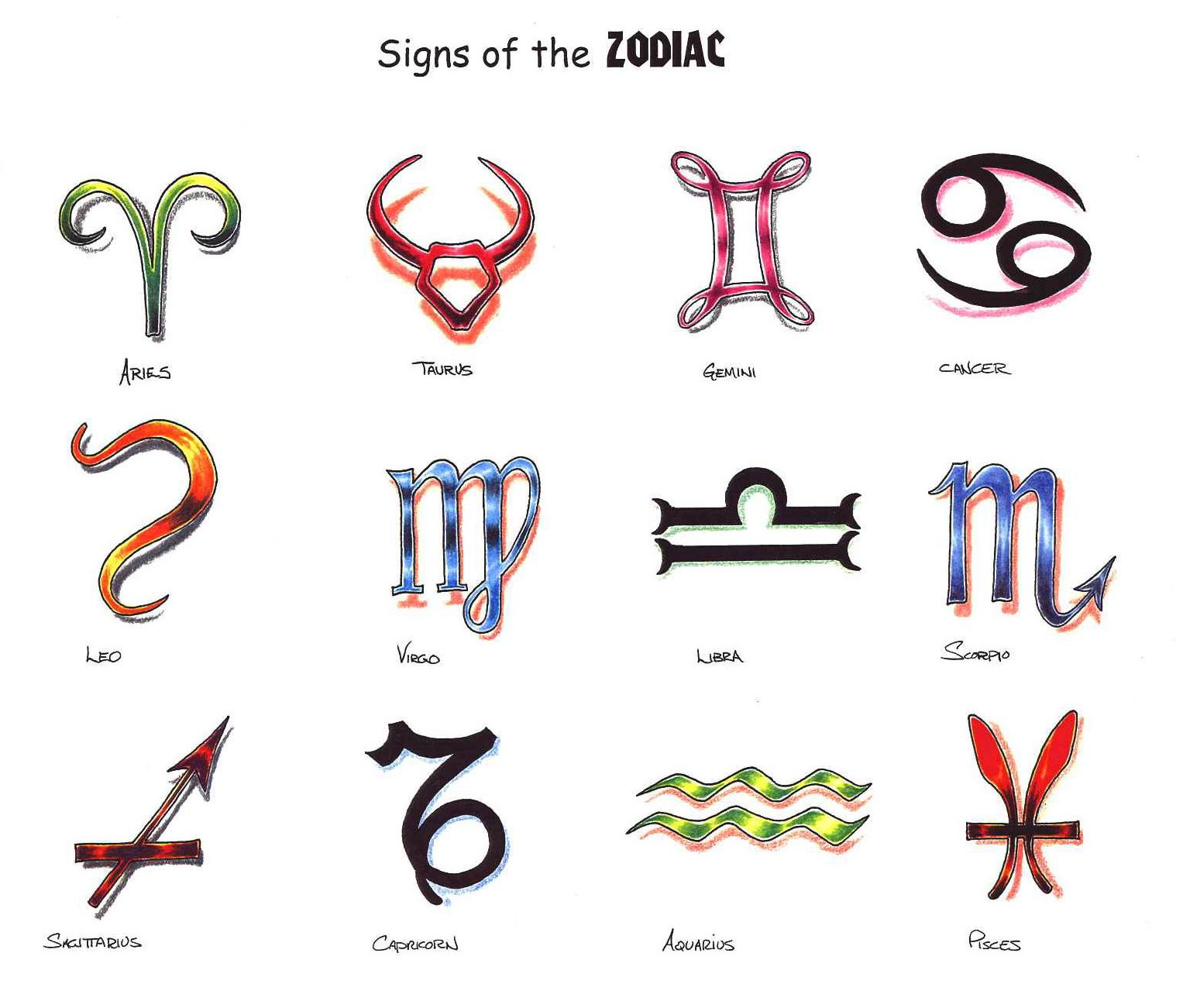 Zodiac Tattoos And Designs: FREE 12 Zodiac Tattoo Designs Gallery