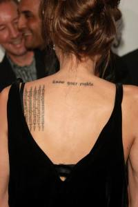 Angelina Jolie's Tattoos Pictures