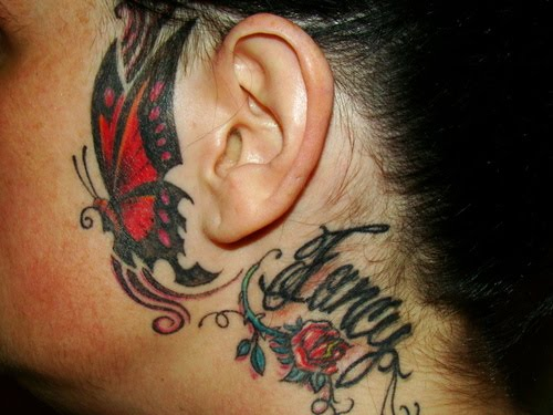 Side Of Face Tattoos: Butterfly Tribal On Left Side Of Face
