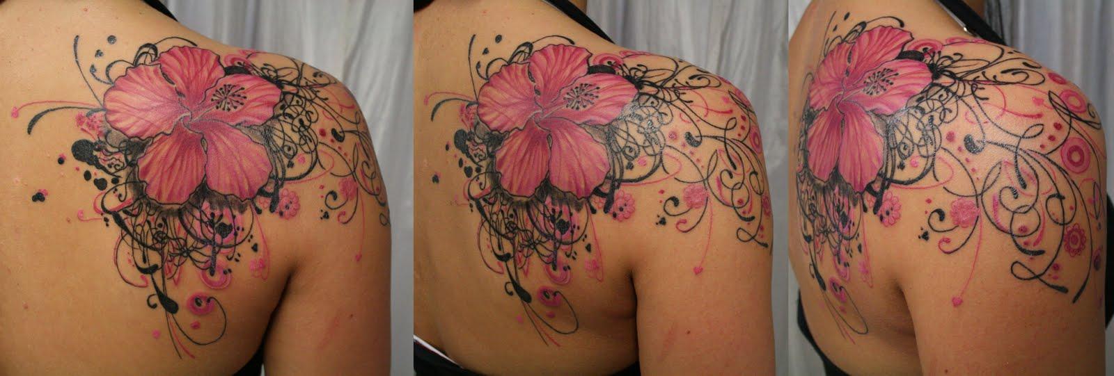 Pink Flower heart tribal Tattoo | tattoo art gallery