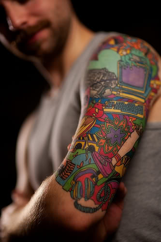 Colorful array of toys tattoo