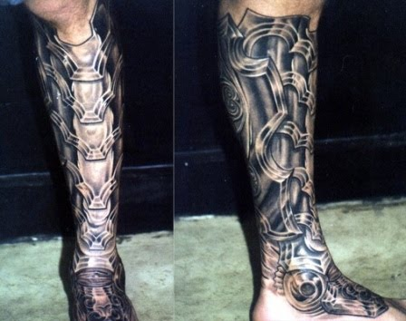 Biomechanical Leg Tattoos