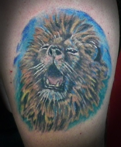 Lion Head with Crown Tattoo